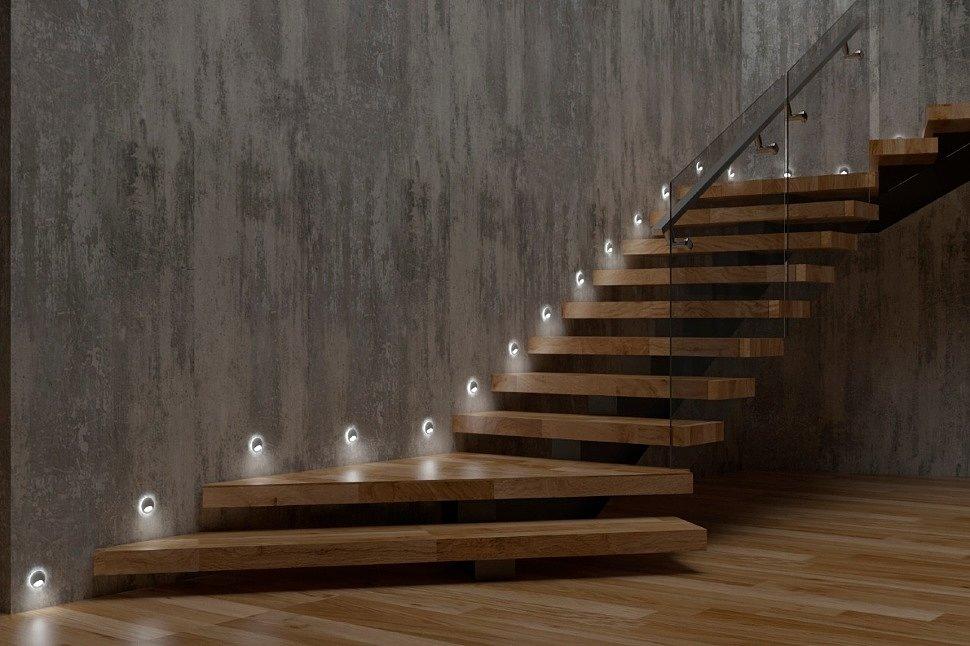 Круглые светильники для подсветки ступеней