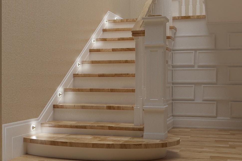 Круглый встраиваемый светильник для лестницы