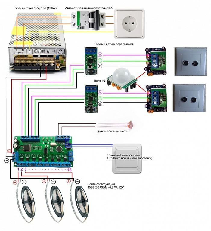 Автоматическая подсветка лестницы Arduino