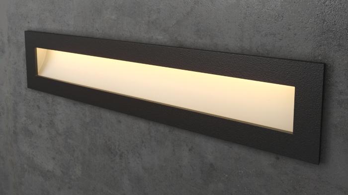Чёрный прямоугольный светильник для лестницы Integrator IT-773-Black